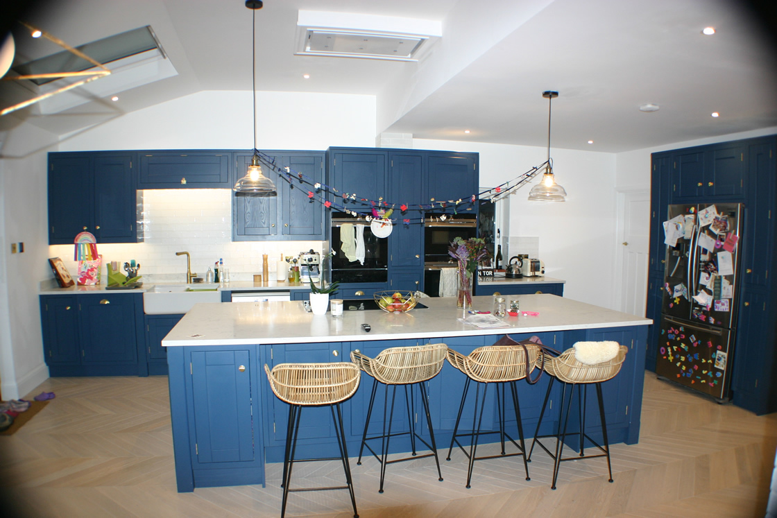 Kitchen Designed and Painted in Farrow and Ball Hicks Blue