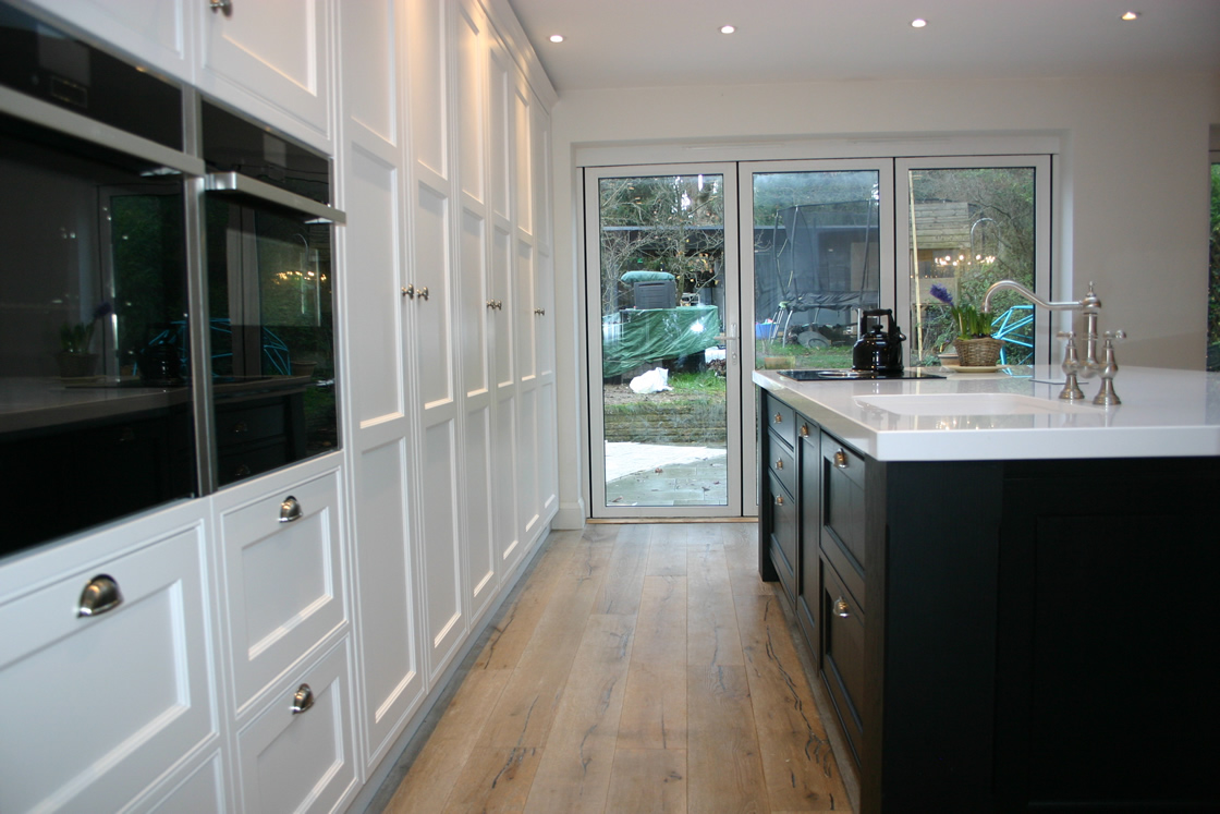 View to Garden from Bespoke Kitchen in Reigate Surrey