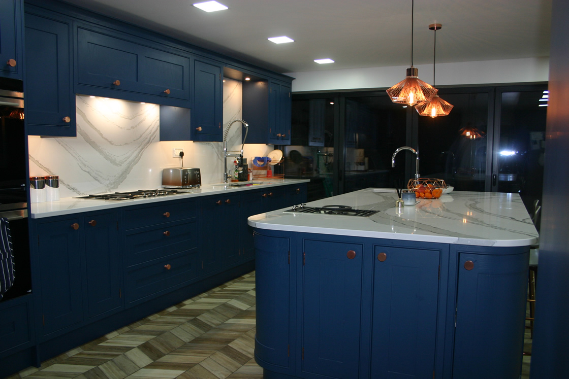 Bespoke Kitchen Showing Island with Curved Units
