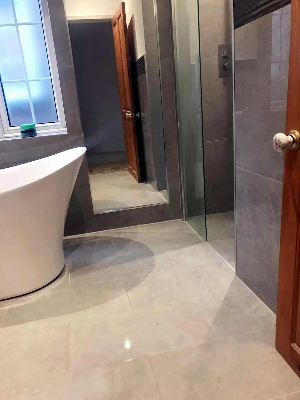 Bespoke Bathroom in Merstham Surrey Showing No-Freshhold to Shower