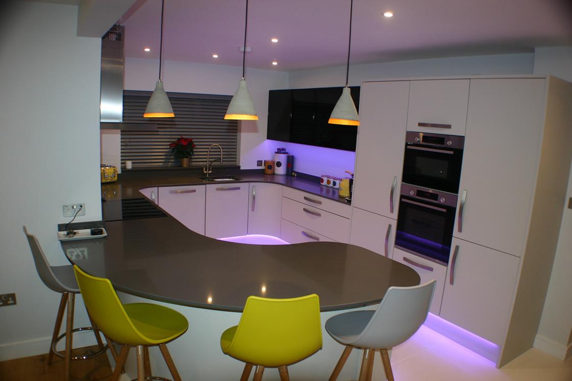 Bespoke Curved Kitchen Design Showing Breakfast Bar