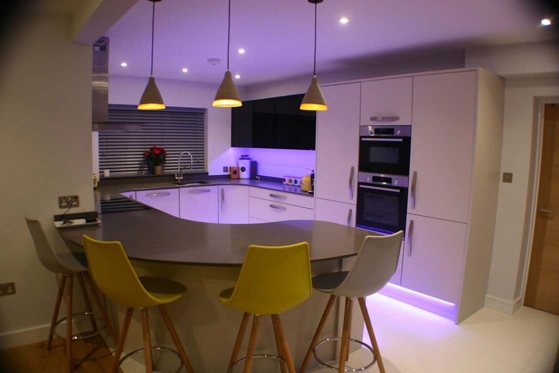 Bespoke Curved Kitchen Design in Worcester
