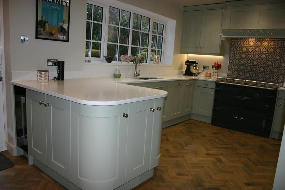 Bespoke Kitchen in Bletchingley Featuring Small Breakfast Bar