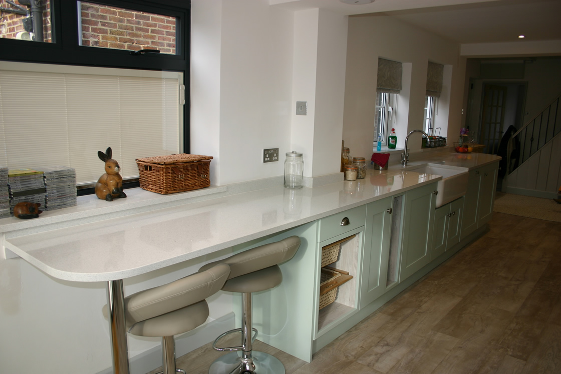 Bespoke Kitchen in Merstham Surrey Showing Breakfast Bar