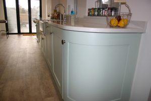 Bespoke Shaker Kitchen Showing Curved End Unit