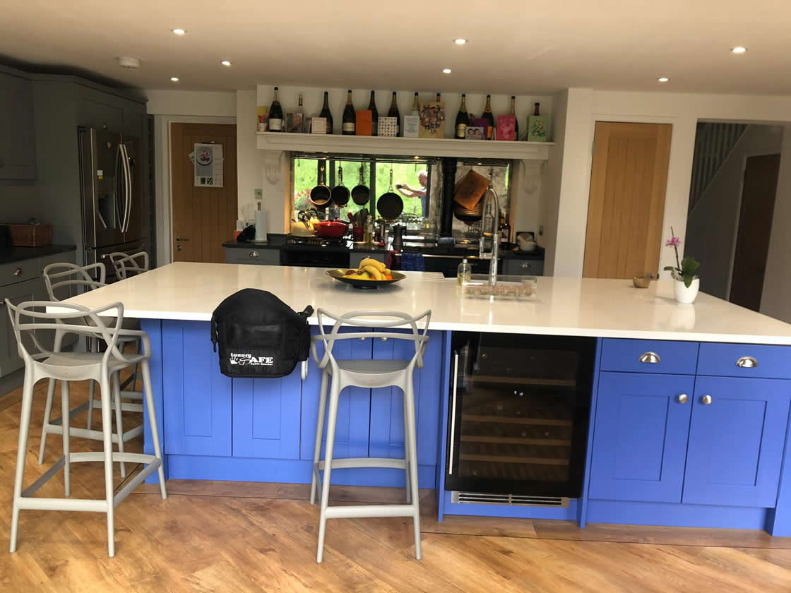Bespoke Shaker Kitchen with Island Painted in Little Greene Mambo 112