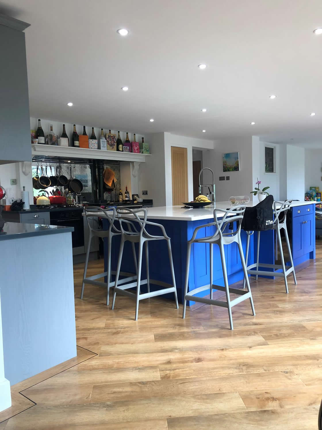 Blue and Grey Bespoke Kitchen Design in Cobham Surrey