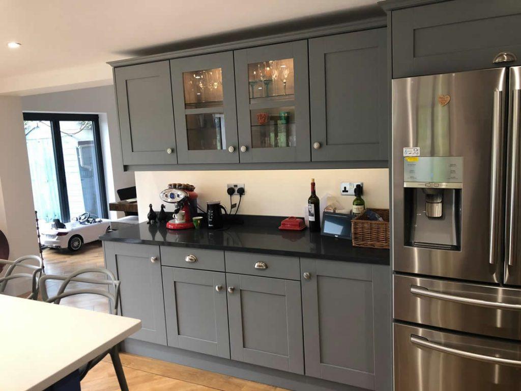 Blue and Grey Bespoke Kitchen Installation in Cobham Surrey