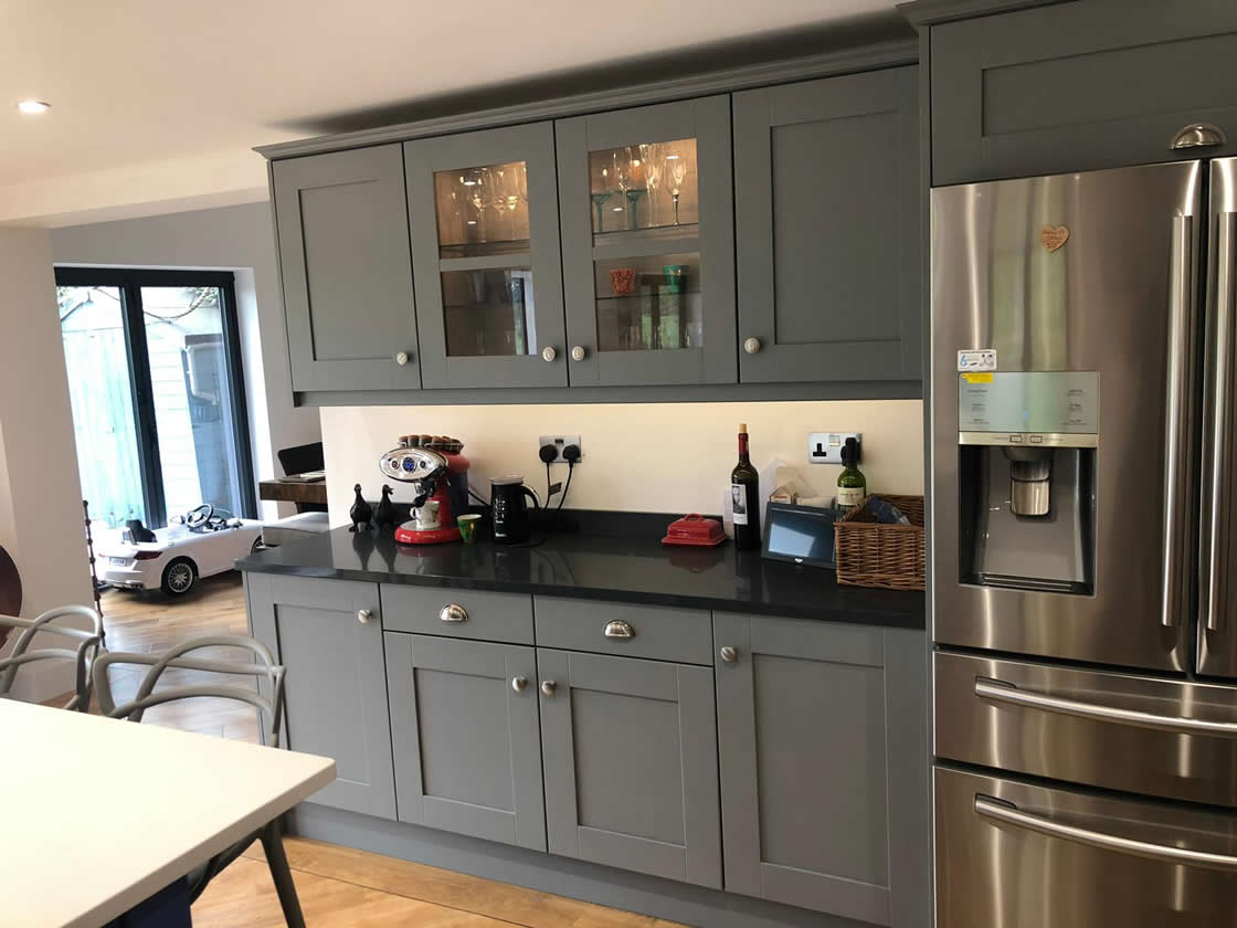 Blue and Grey Bespoke Kitchen Installation in Cobham Surrey