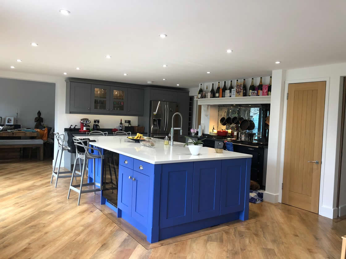 Blue and Grey Kitchen Installation in Cobham Surrey