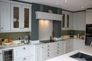 French Grey Kitchen with Bespoke Units around Chimney Breast