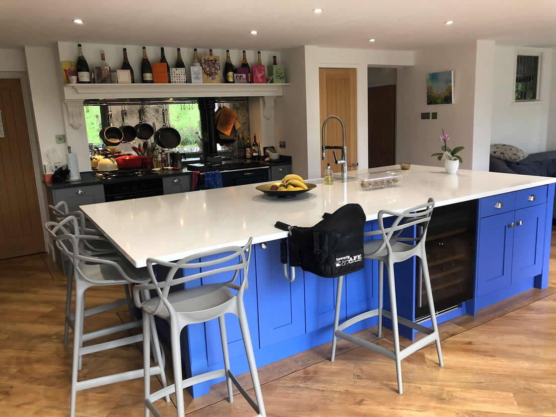 Mambo Blue Kitchen Island in Cobham Kitchen