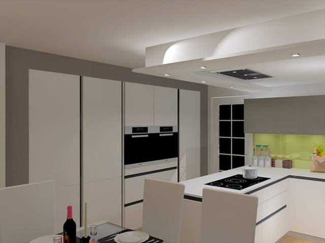 Handle-less Kitchen 3D Design