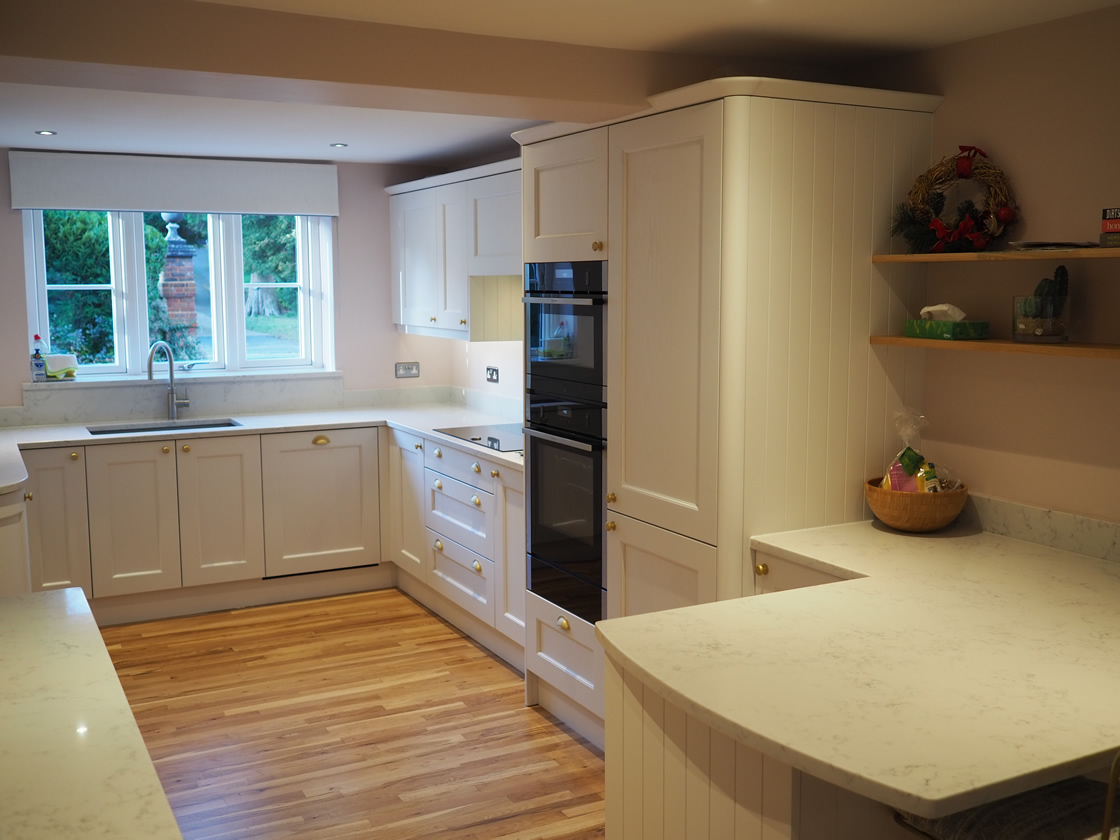 Bespoke Painted Kitchen Showing Small Breakfast Bar