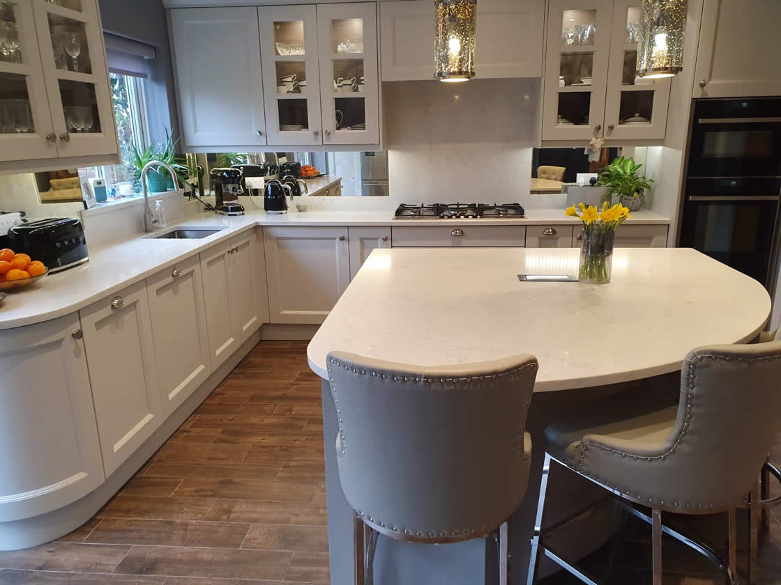 Bespoke Painted Kitchen with Curved Island in Surrey