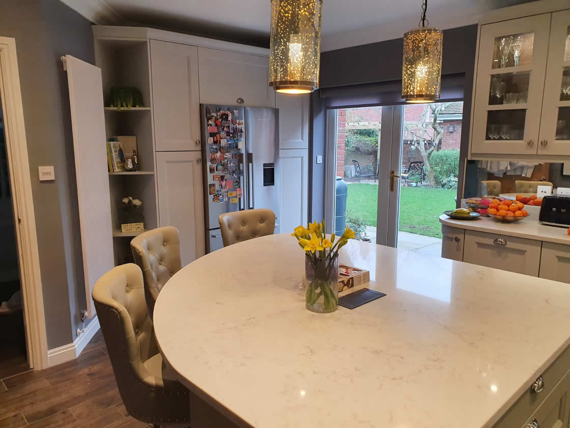 Curved Kitchen Island Project in Epsom Surrey