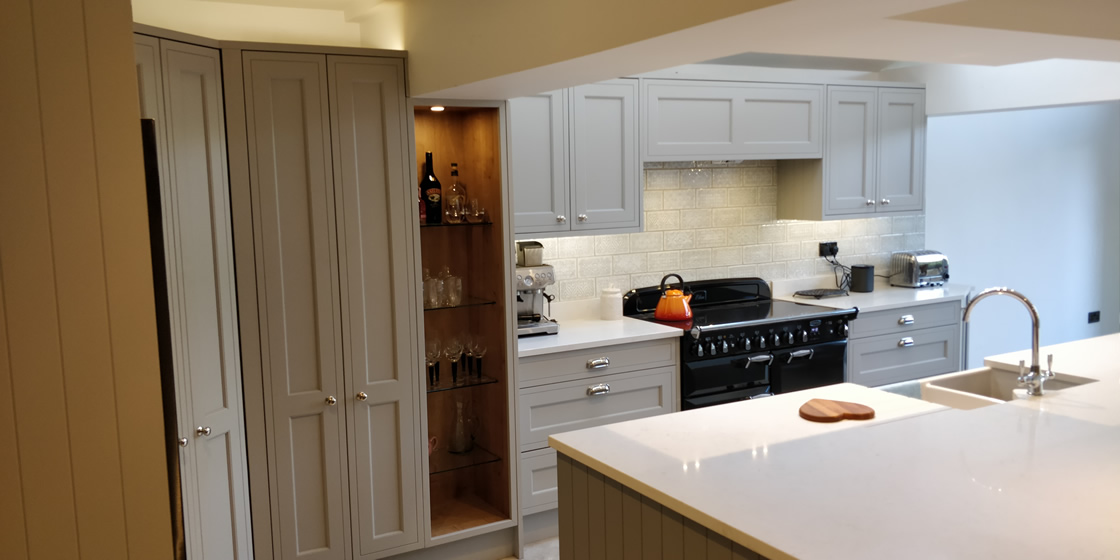Bespoke In-Frame Effect Kitchen with Bespoke Open Unit with Glass Shelves