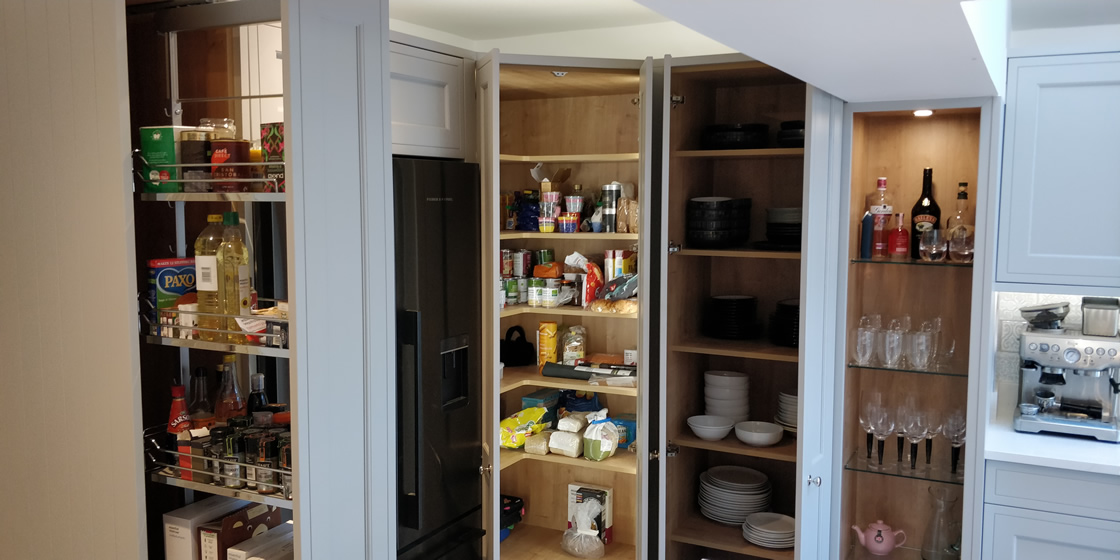 Bespoke In-Frame Effect Kitchen with Larder featuring Sensory Lighting