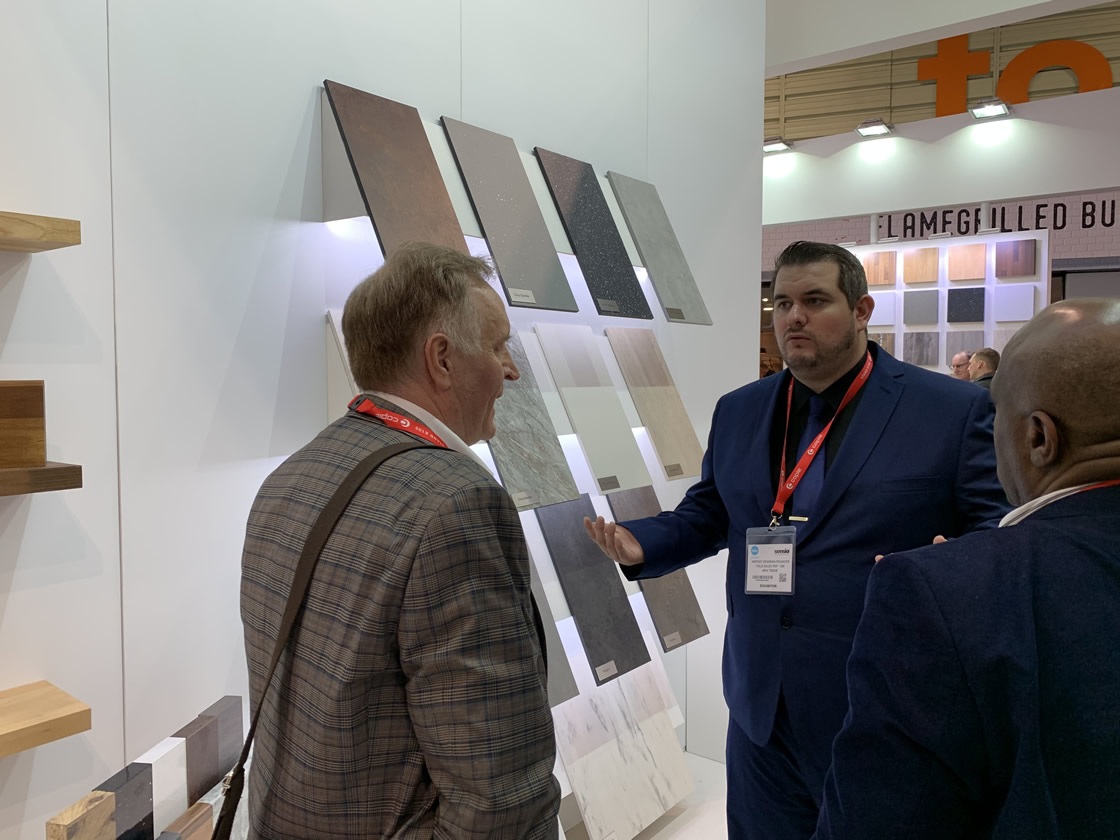 David discussing worktops at the Wex stand