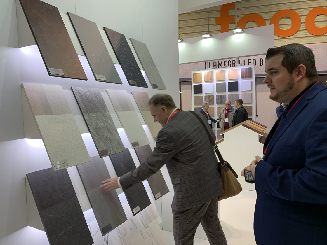 David look at Worktop samples at the WEX stand