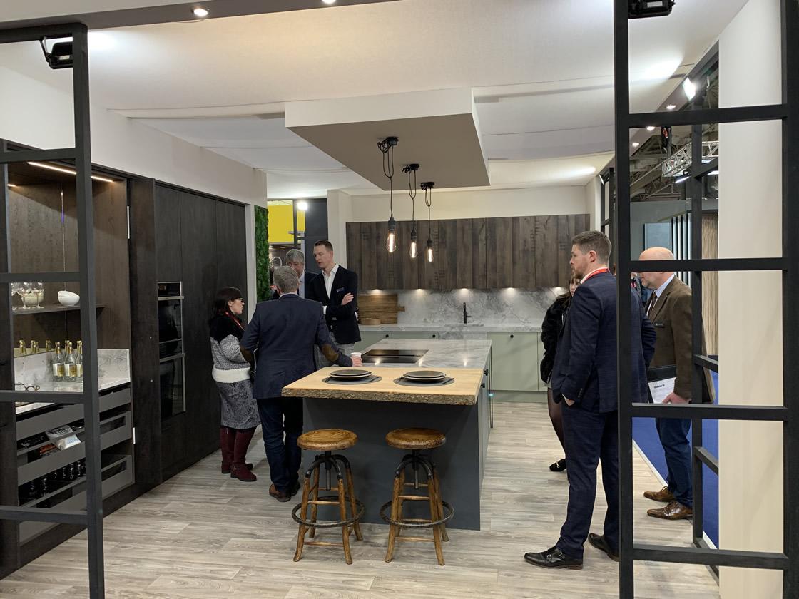 Modern kitchen worktop with natural oak finish