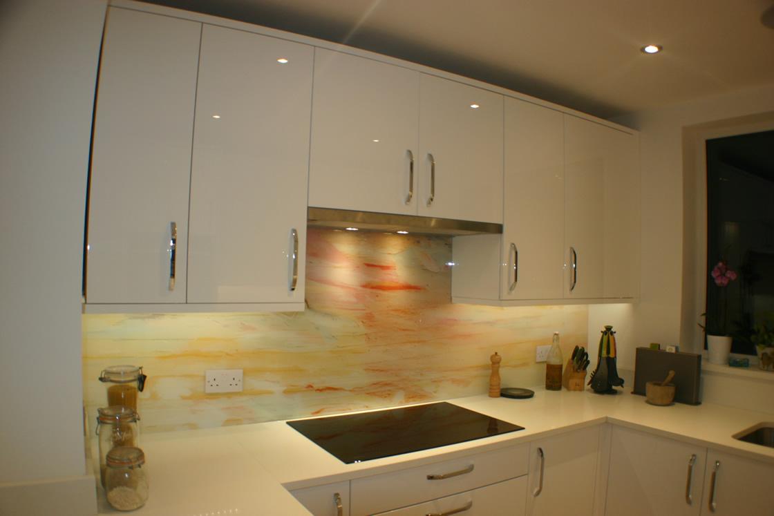 New Kitchen with Bespoke Glass splashback