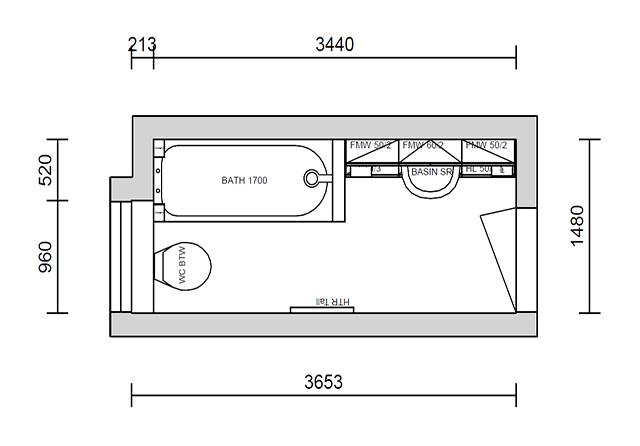 Scale Plan Drawing of a Bespoke Bathroom