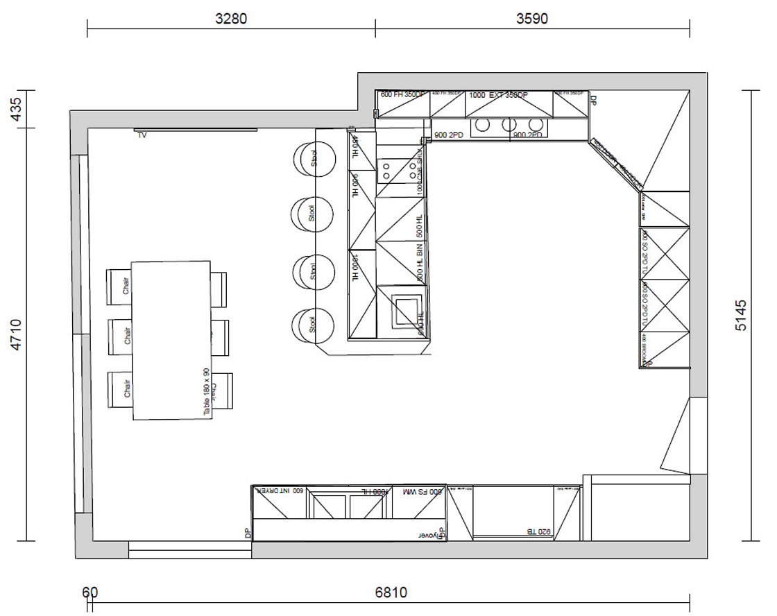 Plan Drawing of new Kitchen Design - Frenches Road in Redhill