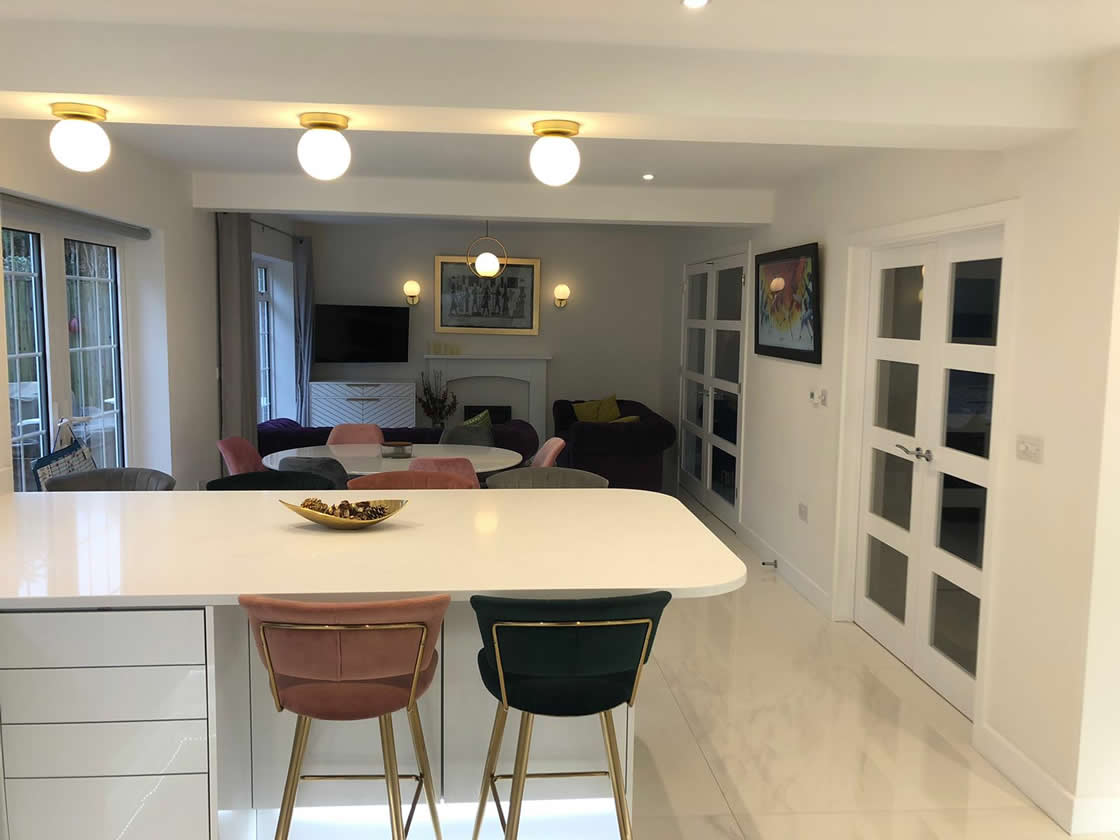 New Acrylic White Gloss Kitchen Diner Showing Transformation Complete