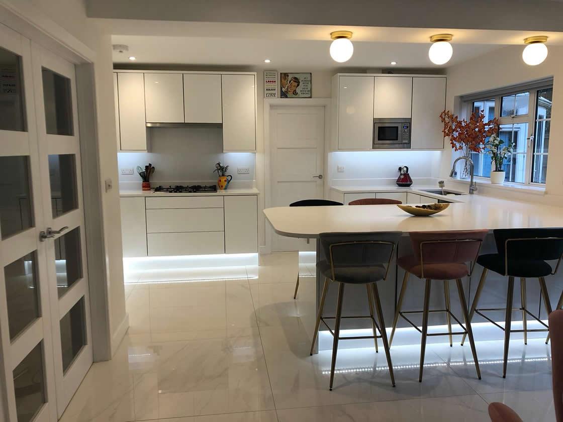New Acrylic White Gloss Kitchen Installation in Caterham Surrey