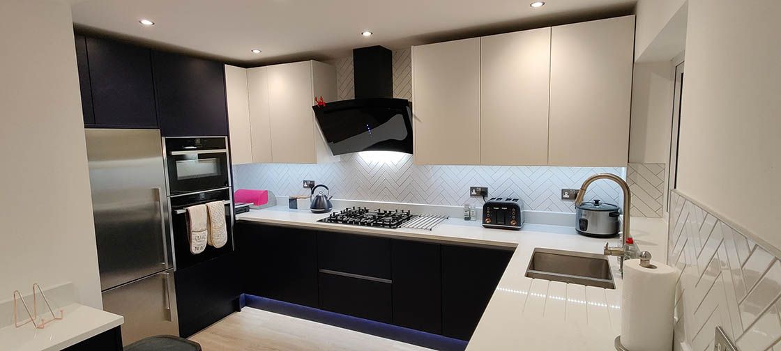 Blue and White Handle-less Kitchen - Brooklands