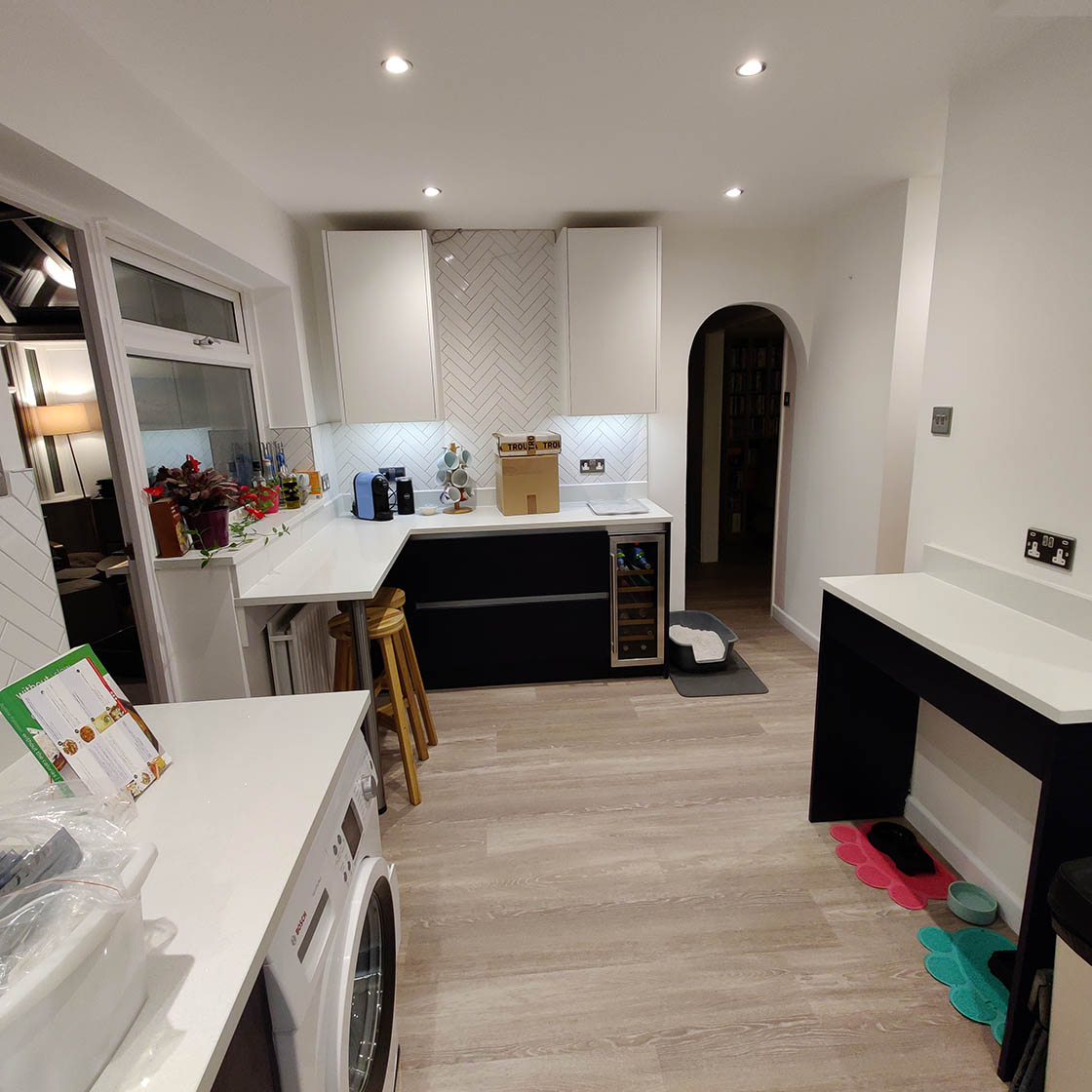 Blue and White Handle-less Kitchen Diner in Redhill Surrey - Brooklands