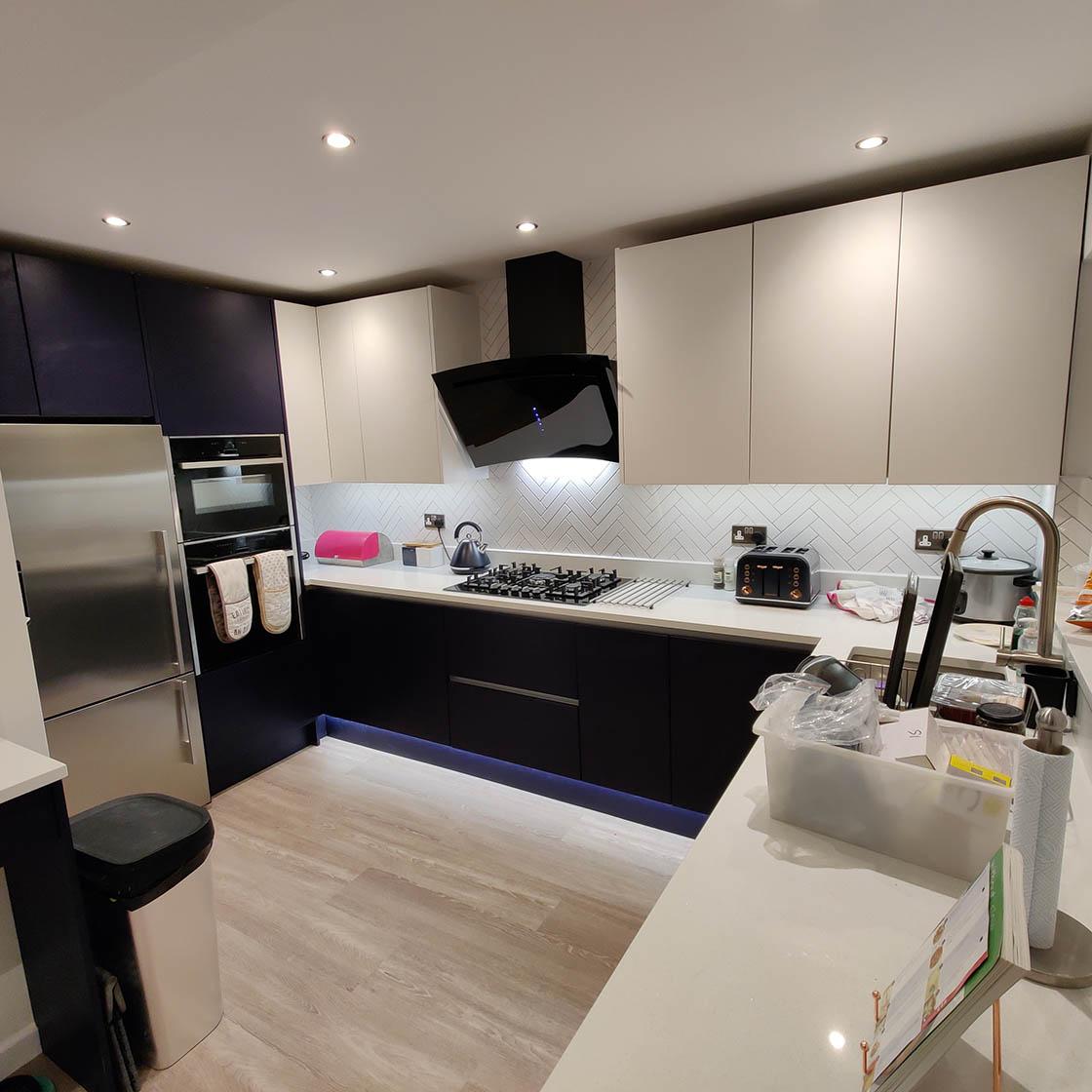 Handle-less Kitchen Design in Redhill Surrey - Brooklands