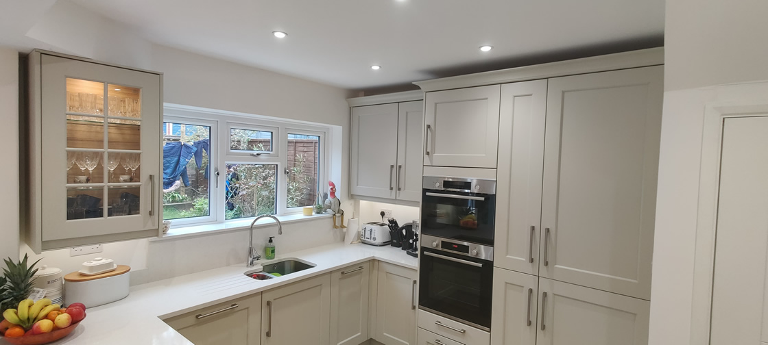New Shaker Kitchen in Mussel Installed in Dorking Surrey - Punchbowl (1)