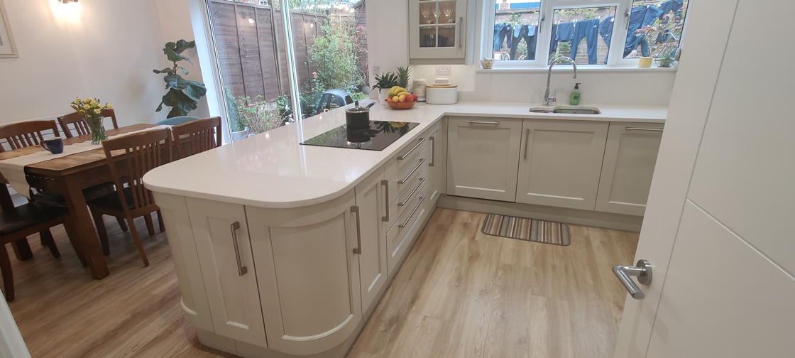 New Shaker Kitchen in Mussel Installed in Dorking Surrey - Punchbowl (14)