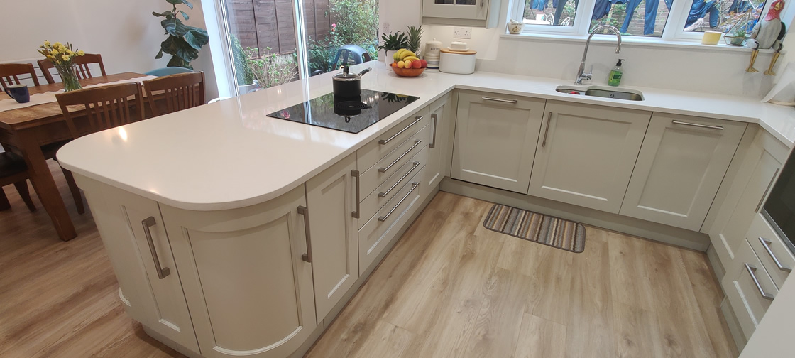 New Shaker Kitchen in Mussel Installed in Dorking Surrey - Punchbowl (19)