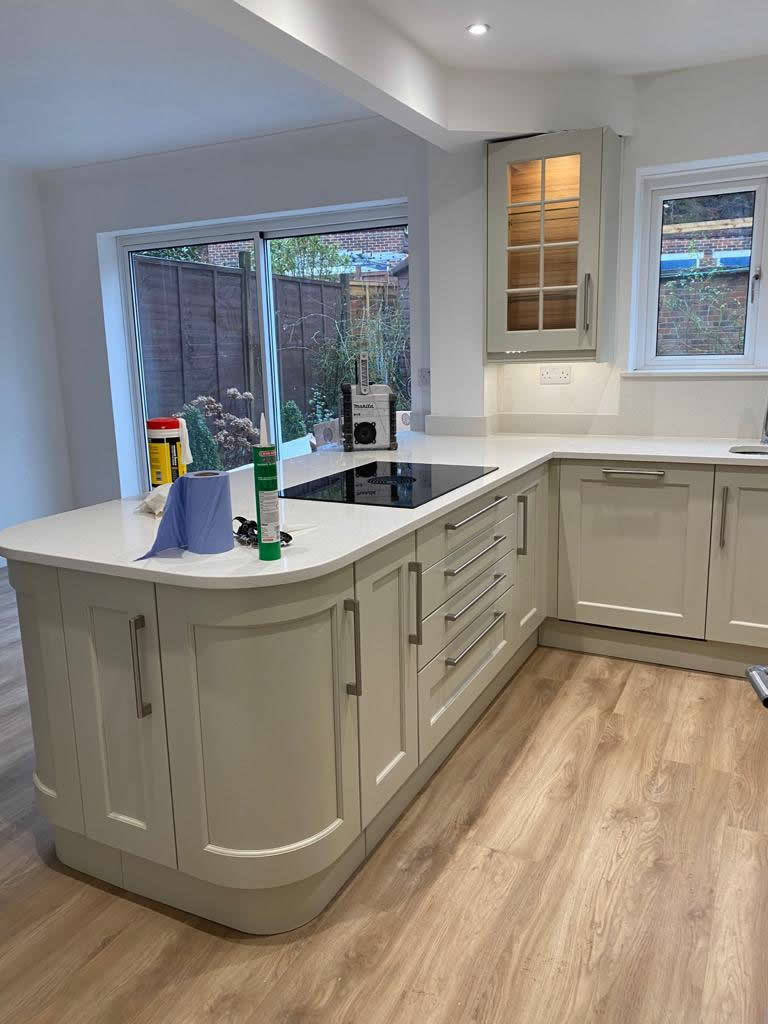 New Shaker Kitchen in Mussel Installed in Dorking Surrey - Punchbowl (5)