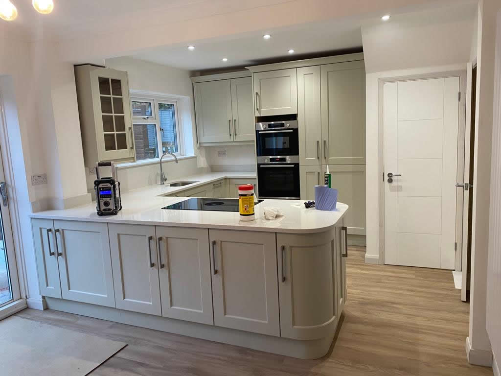 New Shaker Kitchen in Mussel Installed in Dorking Surrey - Punchbowl (6)