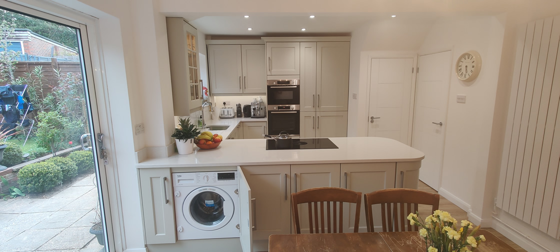 New Shaker Kitchen in Mussel Installed in Dorking Surrey - Punchbowl (9)