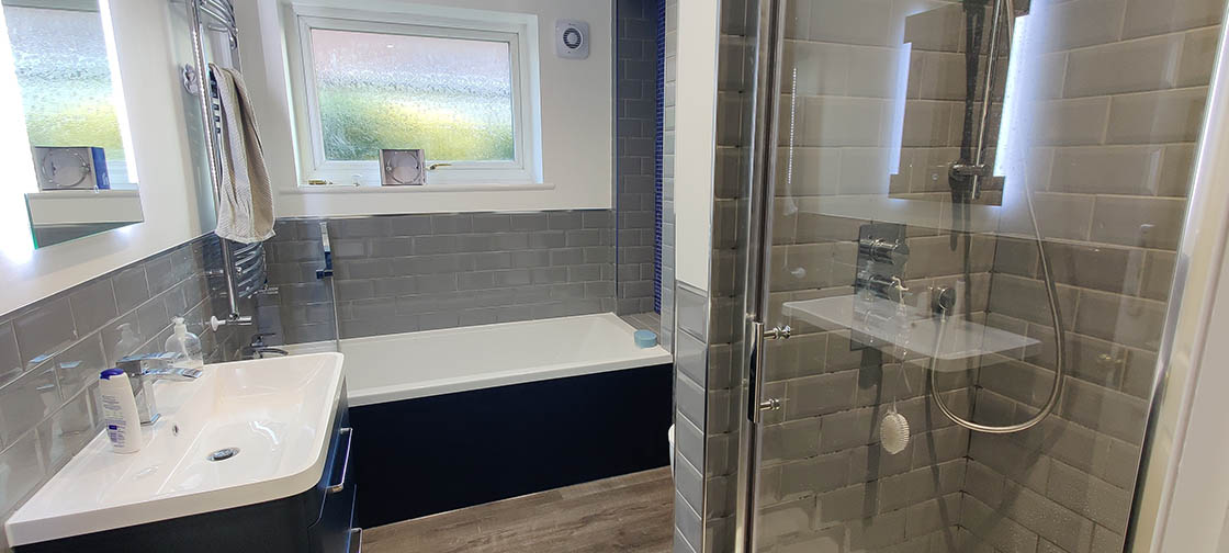 Blue Grey and White Bathroom Transformation in Horley Surrey - Maple View