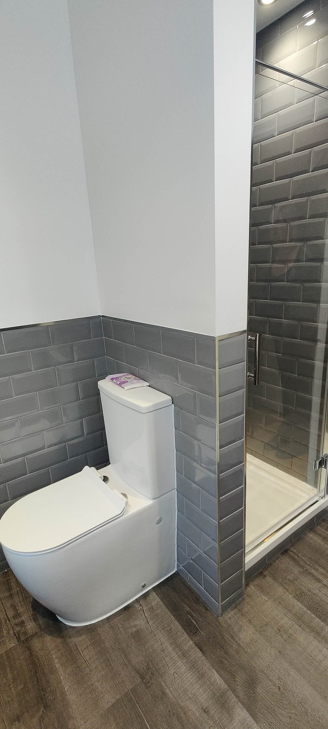 Blue Grey and White Bathroom with Built in Shower in Horley Surrey - Maple View
