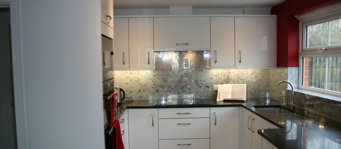 Bespoke High Gloss Acrylic White Kitchen Installation in Redhill