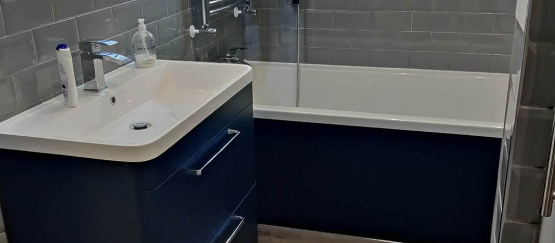 Blue Grey and White Bespoke Bathroom in Horley Surrey - Maple View