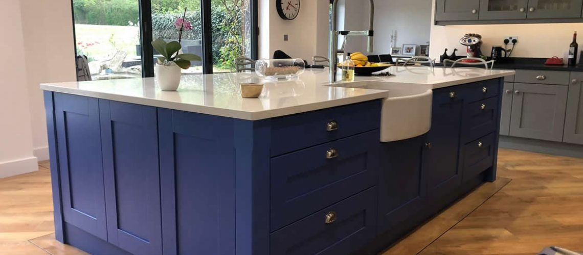 Blue Painted Kitchen in Cobham Surrey
