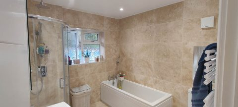 Project to Combine Separate Toilet and Bathroom in Dorking Surrey (1)